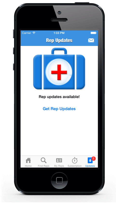 Frequent (usually daily) updates are delivered directly to the RepFinder app:
